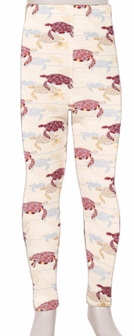 Leggings - Kids - Mauve Turtles