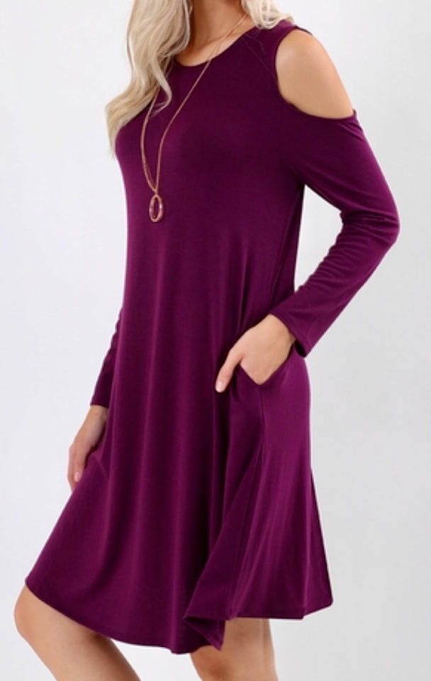 Dress - Dark Purple Cold Shoulder Long Sleeve