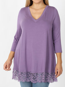 Shirts - Lilac Grey V Neck Lace Bottom 3/4 Sleeve