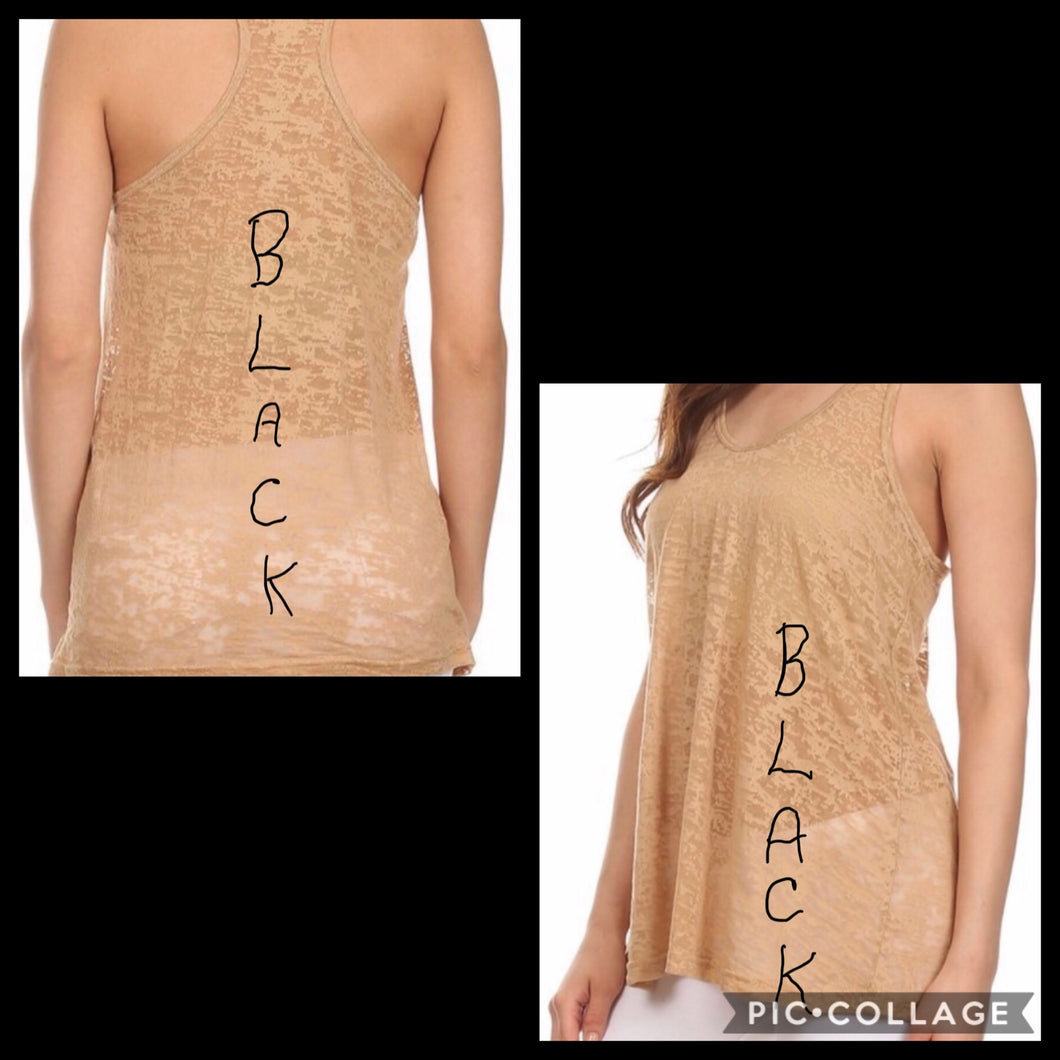 Shirts - Tank Top Black Lace