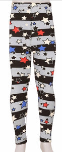 Leggings - Kids - Black and Grey Multi Color Stars