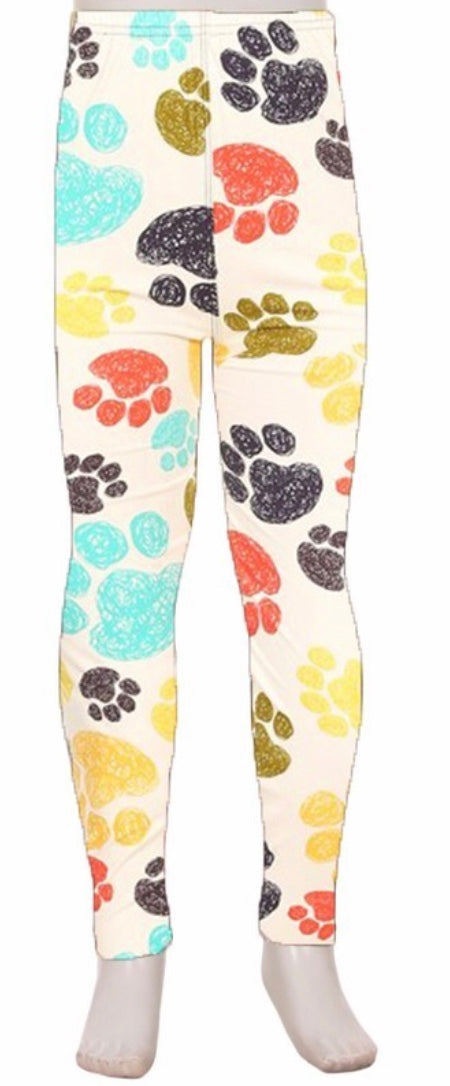 Leggings - Kids - Multi Color Paw Print