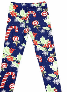 Leggings - Kids - Christmas Candy Cane Noel