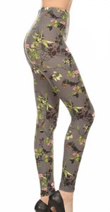 Leggings - Green Floral