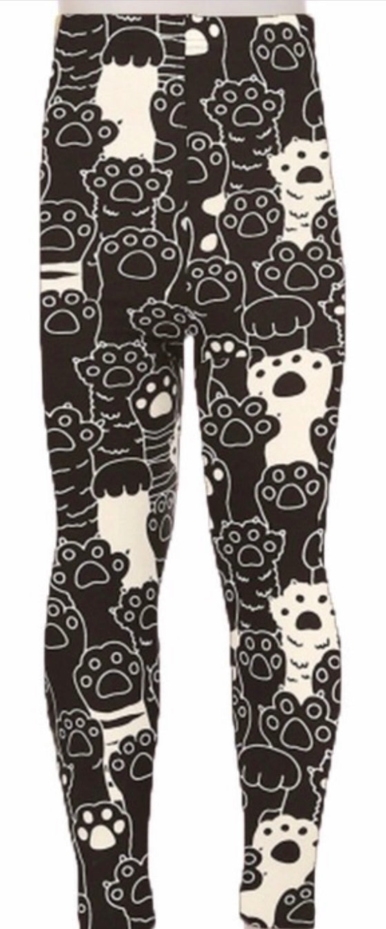 Leggings - Kids - Black and White Paw Print