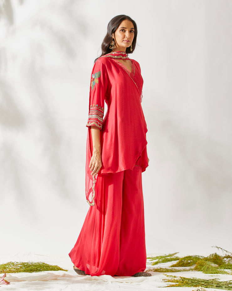 RED BANJARA GARARA SET