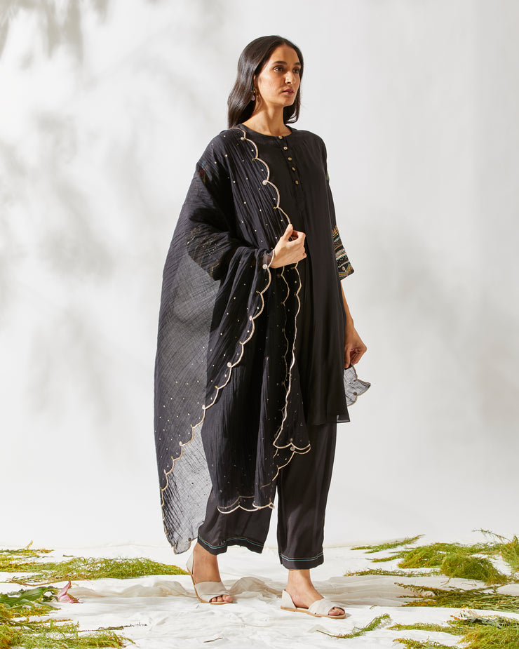 APPLIQUE SLEEVES Black KURTA SET