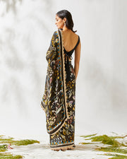 JARDIN PRINT DEEP BROWN SAREE