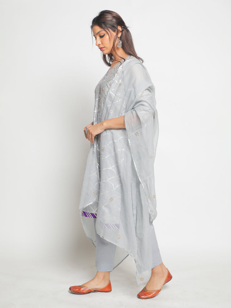 Chanderi Grey Kurta Set of 3