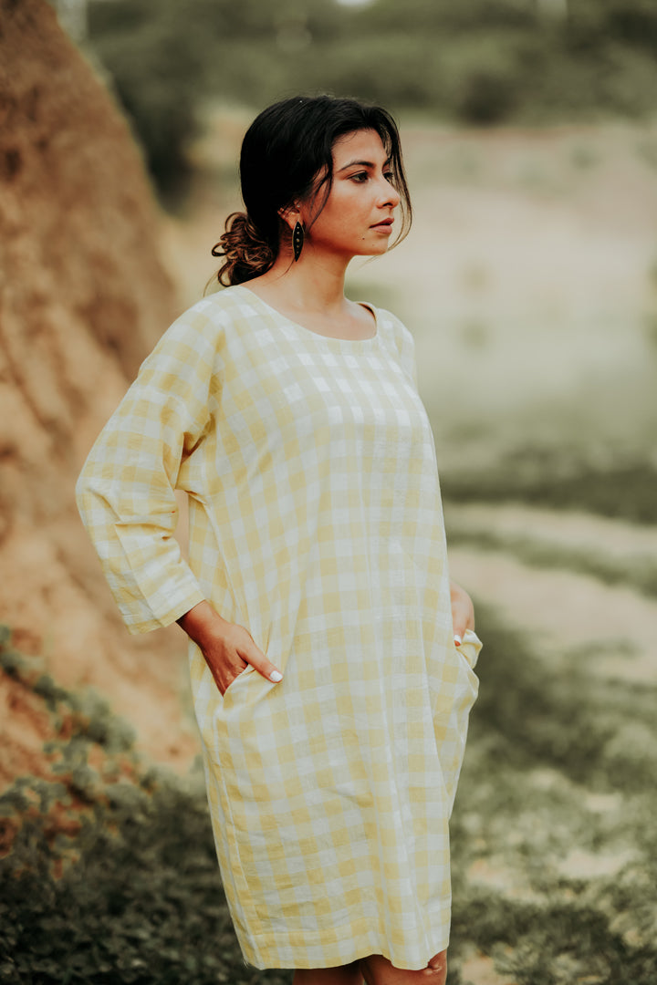 Round-Neck Checkered Dress with Pockets.