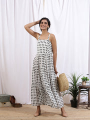 a line white printed women's dress . aandra pradesh women's dress