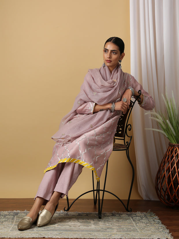 Mauve Kurta With Pant & Dupatta (Set of 3)