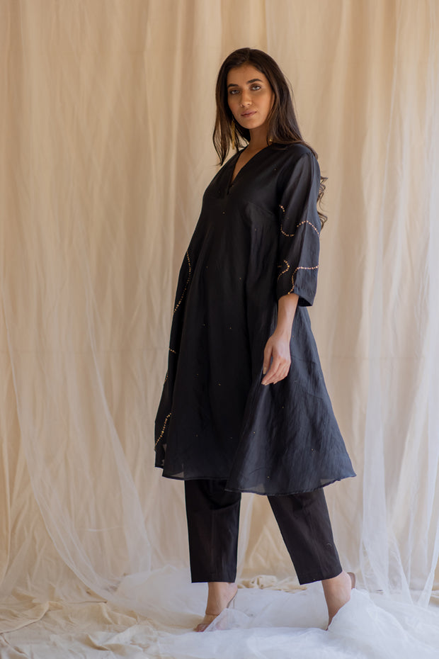 black maheem kurta set