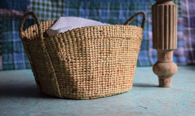Water Hyacinth Storage Laundry Basket-Story Of India