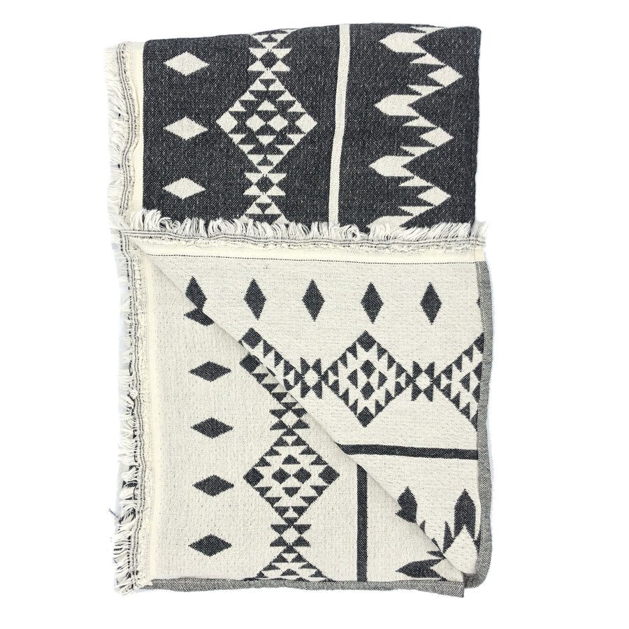 Montauk Cotton Towel ╳ Dark Grey Aztec