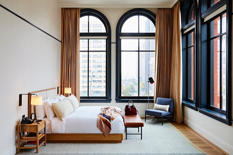 One of the Shinola Detroit Hotel's guest rooms