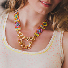 Load image into Gallery viewer, Priestess Woven Beaded Necklace - Pink and Gold - SisBrothers