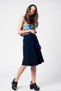 Blue Navy Pants Skirt With Silver Buttons - SisBrothers