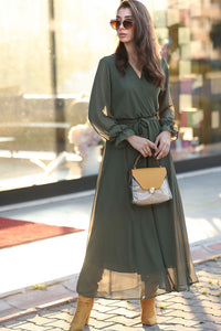 Women's Wrap Khaki Chiffon Long Dress - SisBrothers