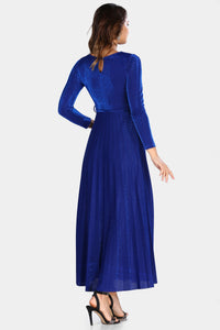 Women's Pleated Glitter Saxe Evening Dress - SisBrothers