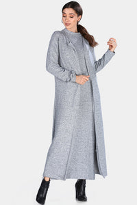 Women's Grey Grizzled Midi Dress & Cardigan Set - SisBrothers