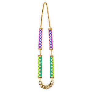 Ibiza Woven Beaded Necklace - Lime and Coral - SisBrothers