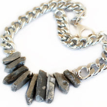 Load image into Gallery viewer, Rocked Up Crystal Quartz Necklace - Silver - SisBrothers