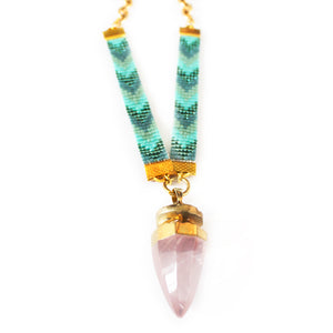 St Tropez Crystal Quartz Necklace - Blue - SisBrothers