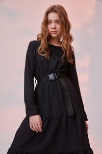 Women's Belted Shirred Black Velvet Midi Dress - SisBrothers