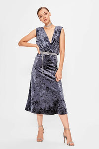 Women's Wrap Anthracite Velvet Dress - SisBrothers