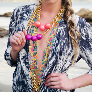 Sea Candy Long Woven Beaded Necklace - Neon Pink - SisBrothers