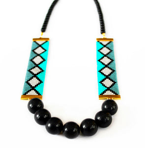 Miami Nights Woven Necklace - Blue and Black - SisBrothers