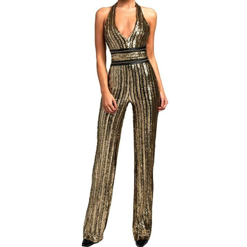 Gold Sequin Striped Jumpsuit - SisBrothers