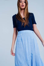 Load image into Gallery viewer, Blue Stripe Asymetric Hem Midi Skirt - SisBrothers