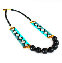 Load image into Gallery viewer, Miami Nights Woven Necklace - Blue and Black - SisBrothers