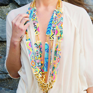 Sea Candy Long Woven Beaded Necklace - Pastel - SisBrothers