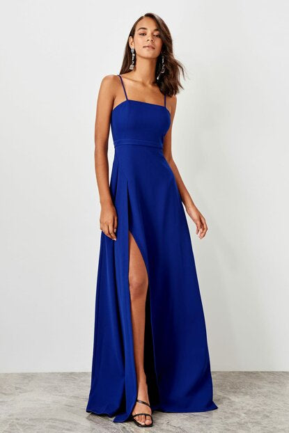 Women's Slit Saxe Evening Dress - SisBrothers