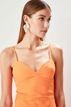 Load image into Gallery viewer, Women's Neck Detail Orange Evening Dress - SisBrothers