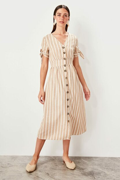Women's Button Camel Dress - SisBrothers