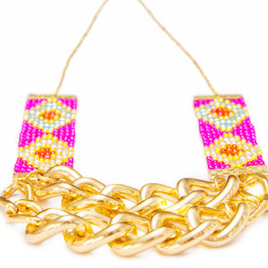 Priestess Woven Beaded Necklace - Pink and Gold - SisBrothers