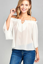 Load image into Gallery viewer, Ladies fashion bell sleeve open shoulder georgette chiffon woven top - SisBrothers