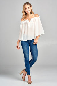 Ladies fashion bell sleeve open shoulder georgette chiffon woven top - SisBrothers