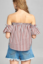 Load image into Gallery viewer, Ladies fashion short sleeve off the shoulder multi stripe top - SisBrothers