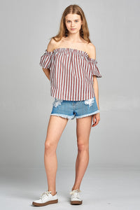 Ladies fashion short sleeve off the shoulder multi stripe top - SisBrothers