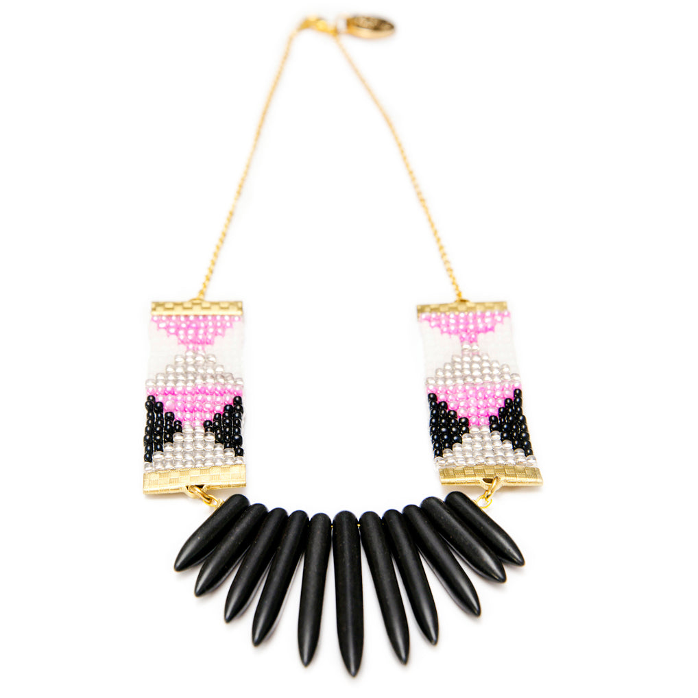 Adorn Spike Necklace - Pink, Black and White With Black Spikes - SisBrothers