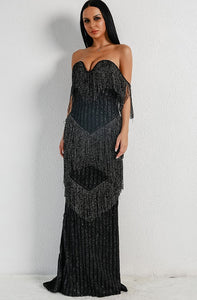 Black Fringe Evening Gown - SisBrothers
