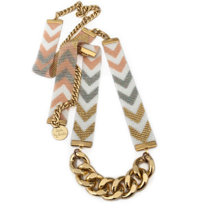 Chevron d'Or Long Beaded Necklace - Gold and Bronze - SisBrothers