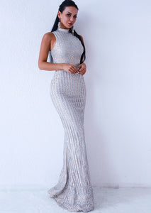 Silver Sleeveless Evening Gown - SisBrothers