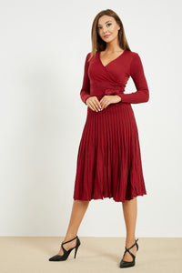 Women's Claret Red Tricot Short Dress - SisBrothers