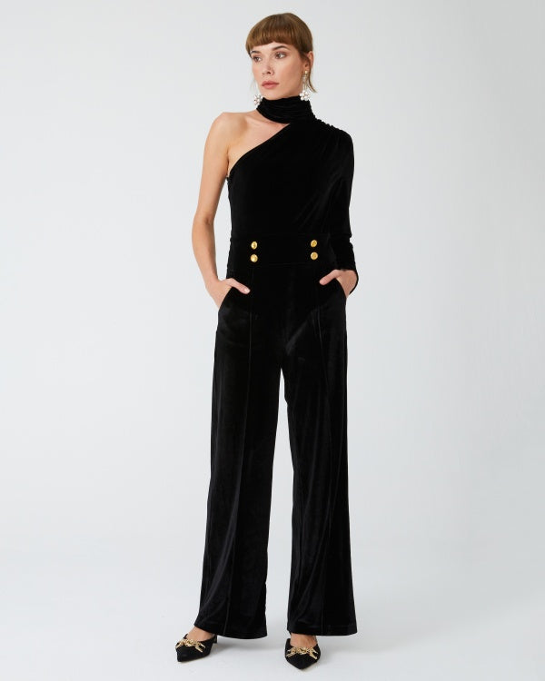 Women's Turtleneck One Shoulder Velvet Overall - SisBrothers